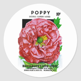Poppy Vintage Seed Packet Classic Round Sticker