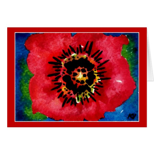 Poppy watercolor painting note or greeting card