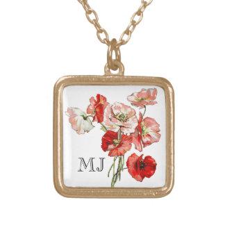 Poppy wild flower monogram gold plated necklace