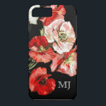 "Poppy wild flower monogram iPhone 8 plus/7 plus case<br><div class=""desc"">A beautiful illustration of a bunch of poppies in full bloom with red and pastel pink petals and soft green stems. PERSONALIZE your name or initials. IDEAL FOR - mothers,  your aunt,  sister,  daughter or for a special occasion.</div>"