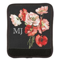 Poppy wild flower monogram luggage handle wrap
