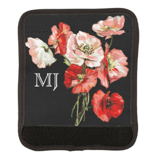 Poppy wild flower monogram luggage handle wrap