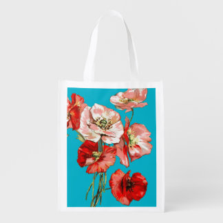 Poppy wild flower monogram reusable grocery bag