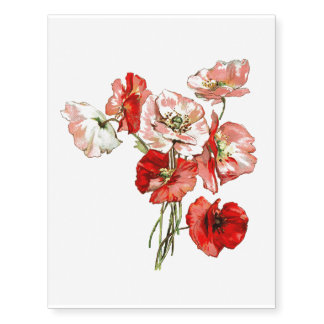 Poppy wild flower monogram temporary tattoos