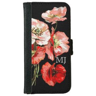 Poppy wild flower monogram wallet phone case for iPhone 6/6s