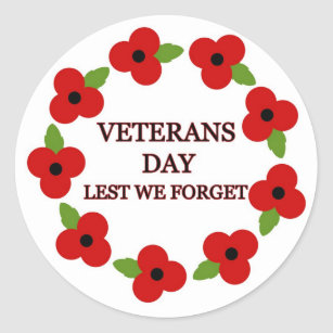 Remembrance Day Poppy Stickers Zazzle