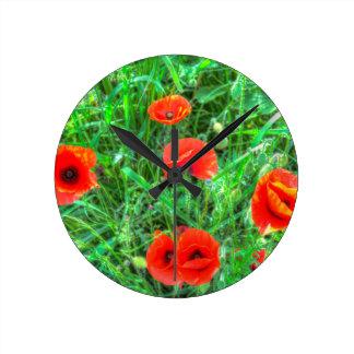 Poppy's Of Summer Round Clock