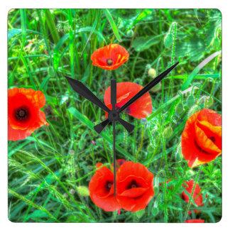 Poppy's Of Summer Square Wall Clock