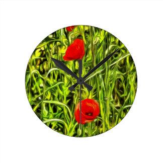 Poppys Van Goth Art Round Clock