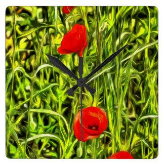 Poppys Van Goth Art Square Wall Clock