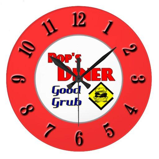 Pop 39 S Diner Retro Red Kitchen Clock Zazzle