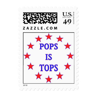 Pops is Tops for Dad Stamps