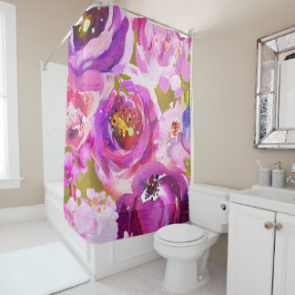 purple and gold shower curtain. Pops Of Pink Purple Gold Modern Trendy Floral Chic Shower Curtain And Curtains  Zazzle