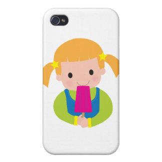Popsicle de la niña iPhone 4 protector