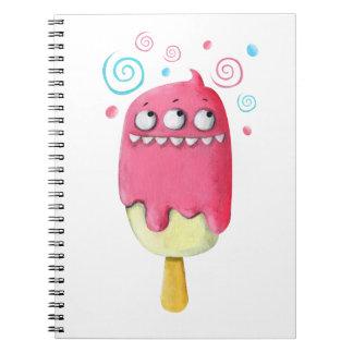 Popsicle del helado del monstruo de los dientes libros de apuntes con espiral