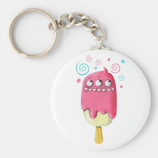 Popsicle del helado del monstruo de los dientes llavero redondo tipo pin