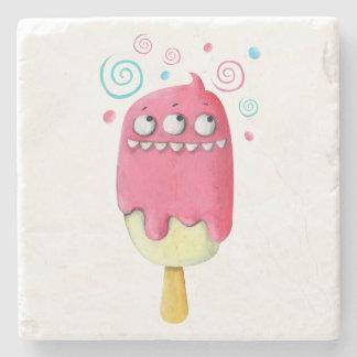 Popsicle del helado del monstruo de los dientes posavasos de piedra
