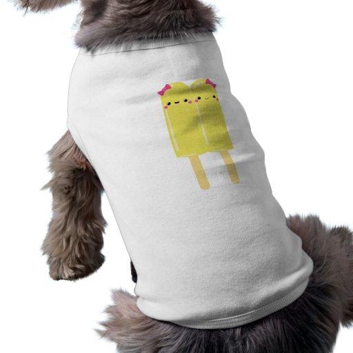 Popsicle doble amarillo camiseta de perro