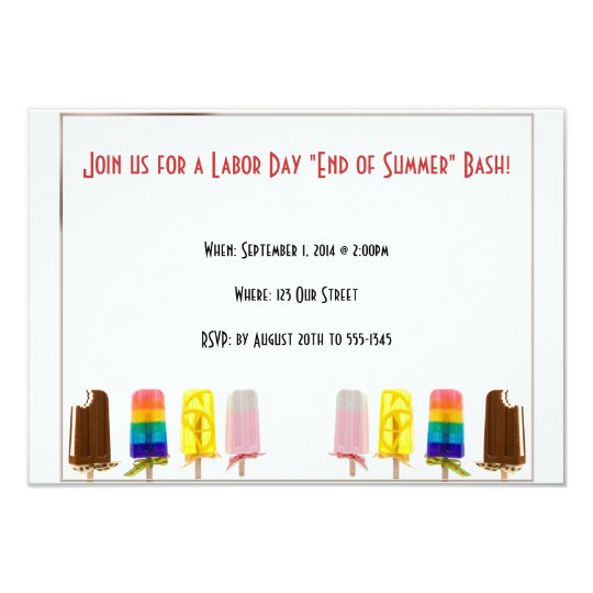 Popsicle End of Summer Labor Day Invitation