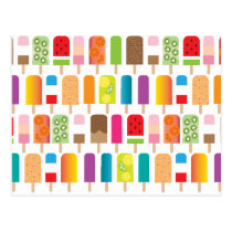 Popsicle Ice Cream Bars Pattern Postcard