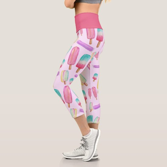 Popsicle Ice Cream Colorful Cute Trendy Modern Fun Capri Leggings