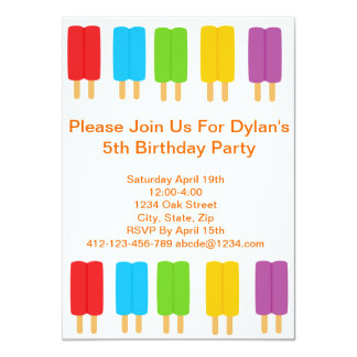 Popsicle Kids Birthday Party Invitation