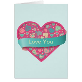Popsicle Love heart with banner, customizable Cards