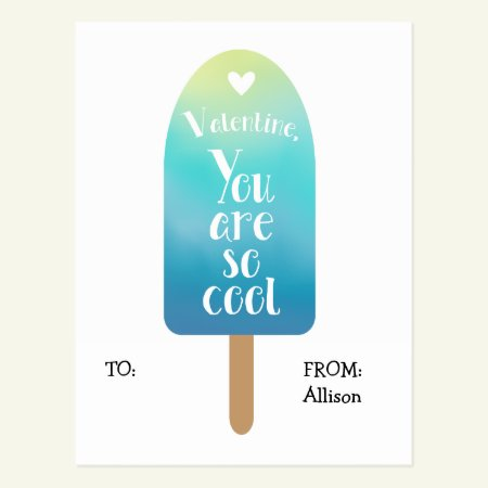 Popsicle School Classroom Valentine Cards for Kids