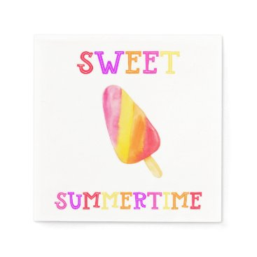 Beach Themed Popsicle Summer Party Napkin