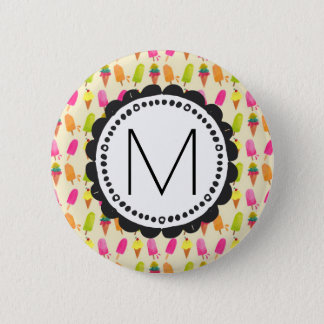 Popsicles and Ice Cream Personalized Monogram Pinback Button