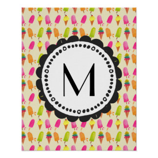Popsicles and Ice Cream Personalized Monogram Poster