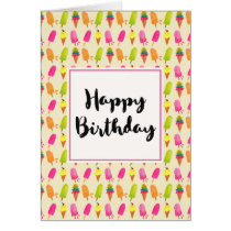 Popsicles and Ice Cream Summer Pattern Birthday Card
