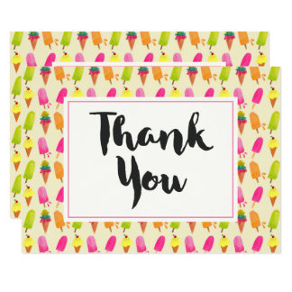 Popsicles and Ice Cream Summer Pattern Thank You Card