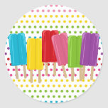 Popsicles and Polka Dots Classic Round Sticker
