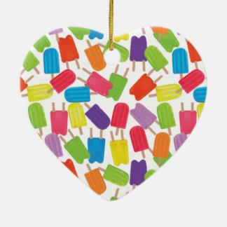¡Popsicles coloridos! Adorno Navideño De Cerámica En Forma De Corazón