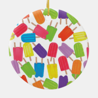 ¡Popsicles coloridos! Adorno Navideño Redondo De Cerámica