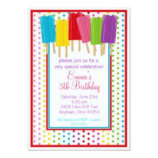 """Popsicles e invitaciones del cumpleaños de los invitación 5"""" x 7"""""""