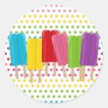 Popsicles y lunares pegatina redonda