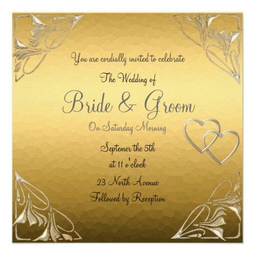 Popular And Elegant Gold Wedding Invitation Square Invitation Card
