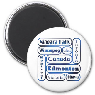 Popular Canadian Cities 2 Inch Round Magnet