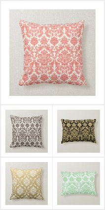 Popular Damask Patterned Home Decor Pillows