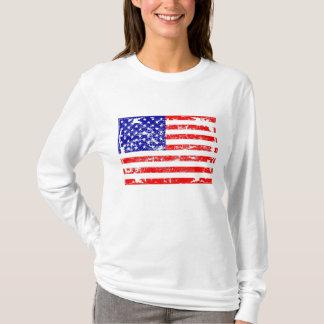 Popular Distressed American Flag Graphic  Shirt