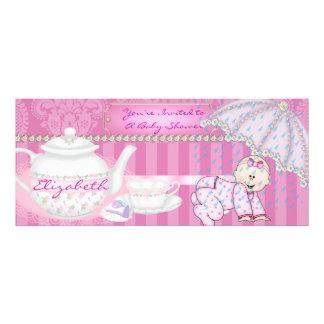 POPULAR Girl Baby Shower Teapot with Damask Design Custom Invitations