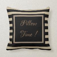 Popular Golden Tan Striped Motif Black Throw Pillow