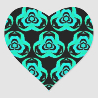 Popular Hip Aquamarine Pattern Heart Sticker