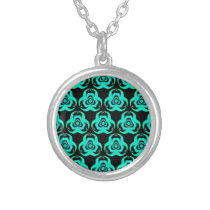 Popular Hip Aquamarine Pattern Silver Plated Necklace