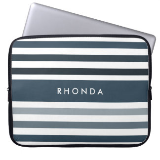 Popular Large Stripes With Name in Deep Blue Laptop Computer Sleeves