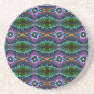 Popular Lavender Green Neon Pattern Drink Coaster