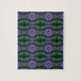 Popular Lavender Green Neon Pattern Jigsaw Puzzle
