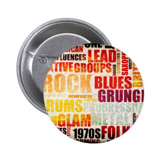 Popular Music Genres and Types on Grunge 2 Inch Round Button